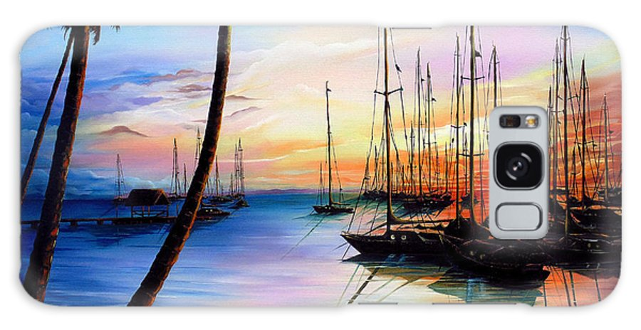 Ocean Painting Seascape Yacht Painting Sailboat Painting Sunset Painting Tropical Painting Caribbean Painting Yacht Painting At The End Of A Yachting Regatta At Pigeon Point Tobago Painting Galaxy S8 Case featuring the painting DAYS END Yachting Regatta At Pigeon Point Tobago by Karin Dawn Kelshall- Best