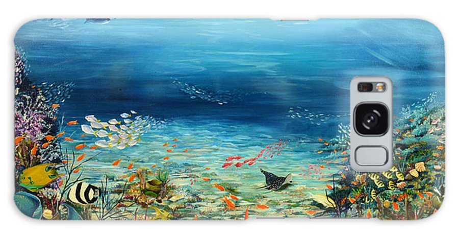 Ocean Painting Undersea Painting Coral Reef Painting Caribbean Painting Calypso Reef Painting Undersea Fishes Coral Reef Blue Sea Stingray Painting Tropical Reef Painting Tropical Painting Galaxy Case featuring the painting Deep Blue Dreaming by Karin Dawn Kelshall- Best
