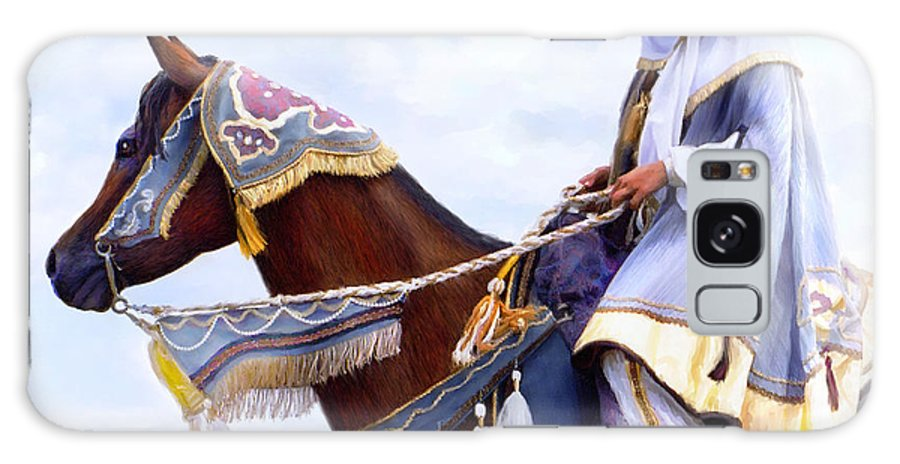 Horse Galaxy Case featuring the painting Desert Arabian Native Costume Horse And Girl Rider by Connie Moses