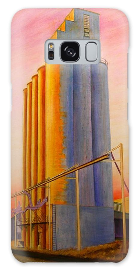 Grain Galaxy S8 Case featuring the painting Endicotte Silos by Leonard Heid