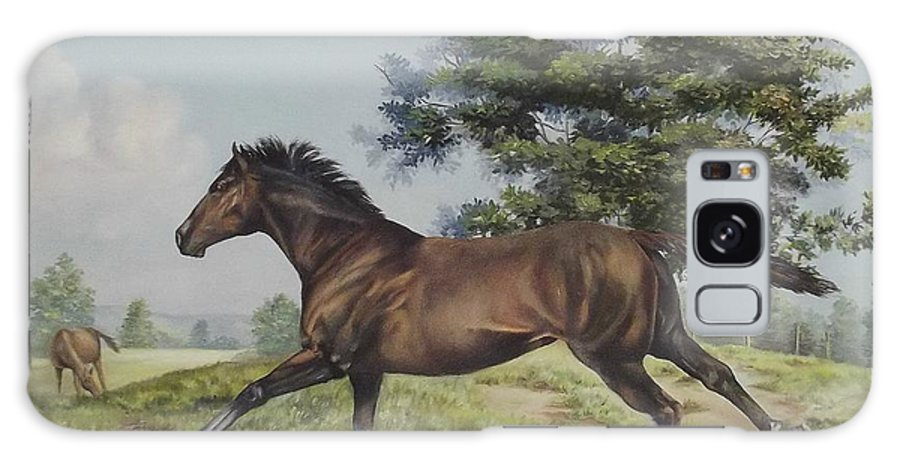 Horse In Field Galaxy S8 Case featuring the painting Energy To Burn by Wanda Dansereau