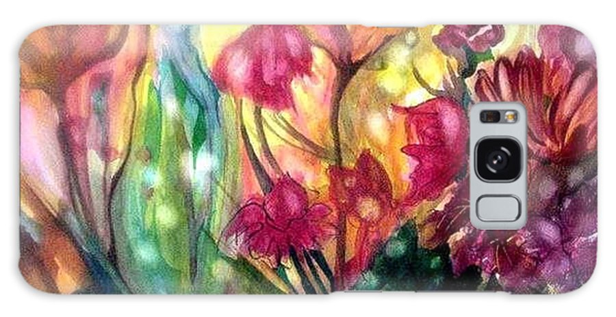 Flowers Galaxy Case featuring the painting Fairy Lights by Carolyn LeGrand