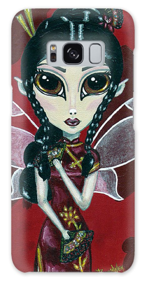 Fairy Galaxy S8 Case featuring the painting Fairy Of The Fans by Bronwen Skye