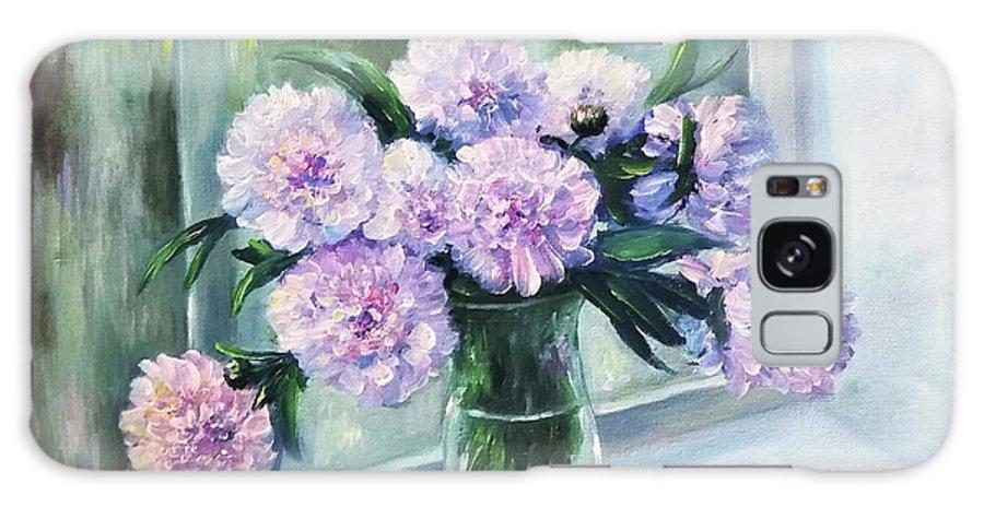 Flowers Galaxy Case featuring the painting Flowers peonies in vase by Natalja Picugina