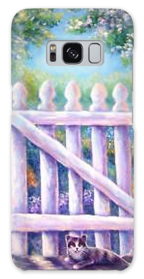 Whimsy Galaxy Case featuring the painting Garden Gate Sentry by L Risor