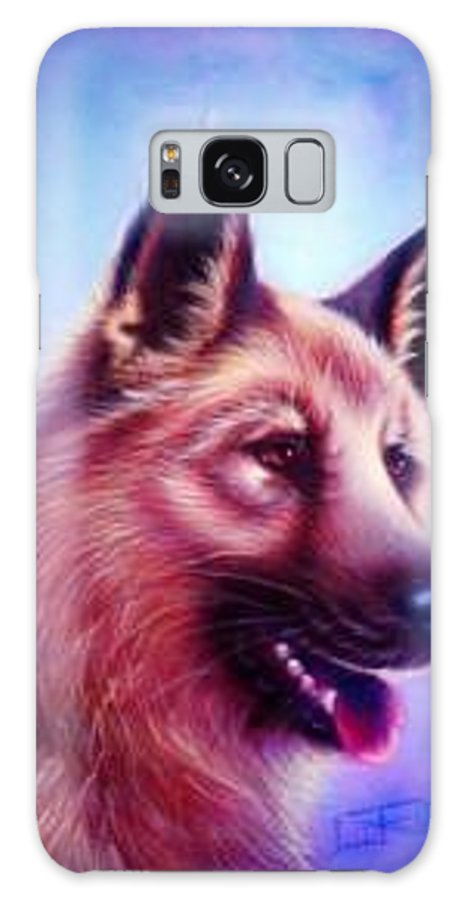 Whimsy Galaxy S8 Case featuring the painting German Shepard Portrait by L Risor
