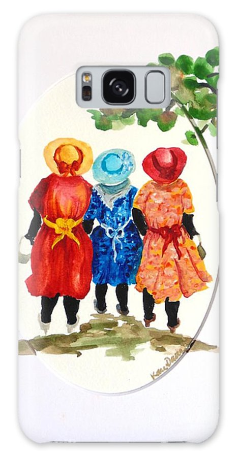 Three Women Caribbean Galaxy S8 Case featuring the painting Going to church by Karin Dawn Kelshall- Best