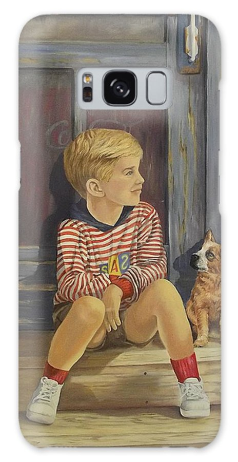 A Young Boy And His Dog Galaxy S8 Case featuring the painting Grandpas Country Store by Wanda Dansereau