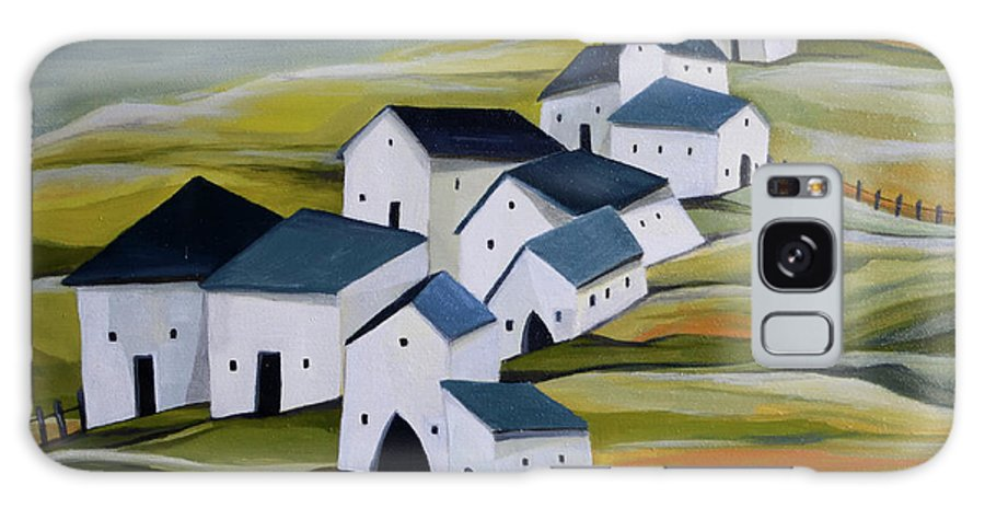 Semi-abstract Landscape Galaxy Case featuring the painting Grandma's village by Aniko Hencz