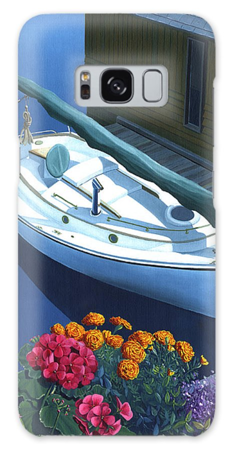 Seascape Galaxy S8 Case featuring the painting Granville Island Catboat by Gary Giacomelli