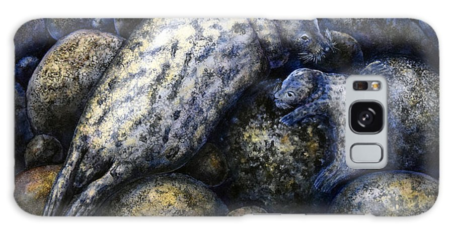 Harbor Seals In Moonlight Galaxy S8 Case featuring the painting Harbor Seals In Moonlight by Frank Wilson