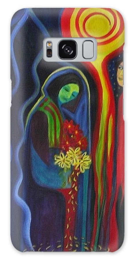 Flowers Galaxy Case featuring the painting He Loves Me He Loves Me Not by Carolyn LeGrand