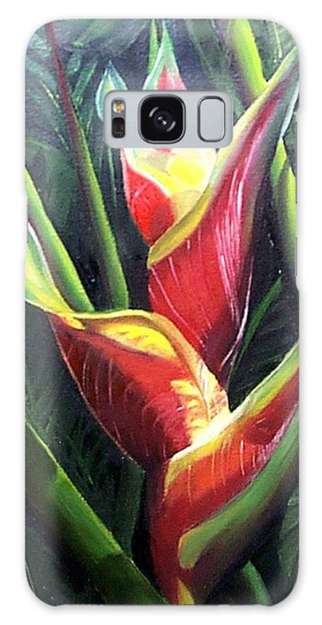 Tropical Floral Flower Heliconia Caribbean Painting Tropical Painting Botanical Painting Galaxy S8 Case featuring the painting Heliconia by Karin Dawn Kelshall- Best