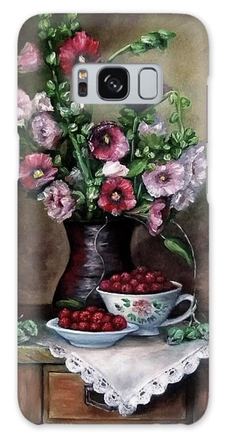 Hollyhocks Galaxy Case featuring the painting Hollyhocks flowers in vase by Natalja Picugina