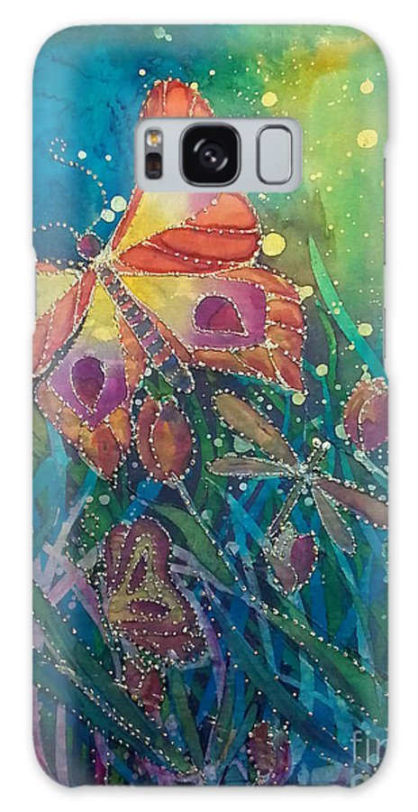 Silk Painting Galaxy Case featuring the painting Jeweled Butterfly Fantasy by Francine Dufour Jones