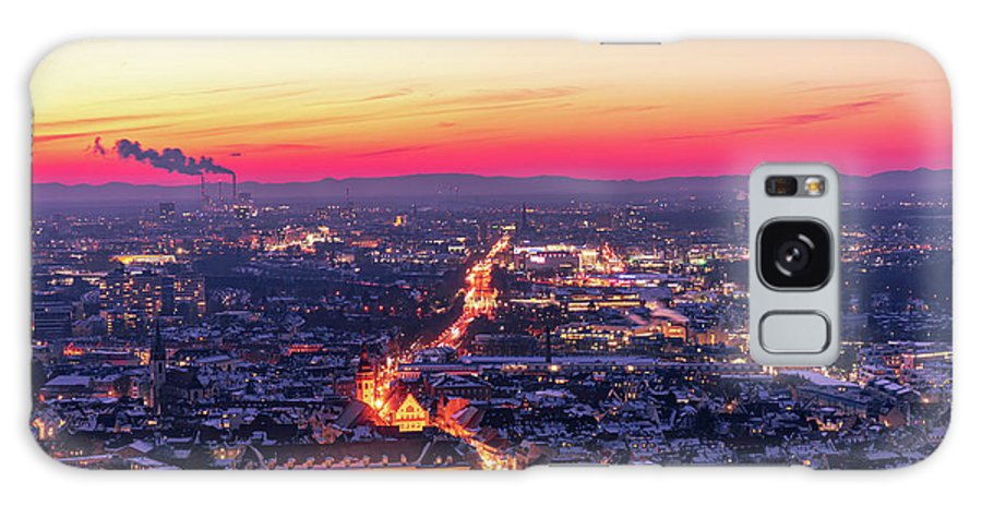 Karlsruhe Galaxy Case featuring the photograph Karlsruhe in winter at sunset by Hannes Roeckel