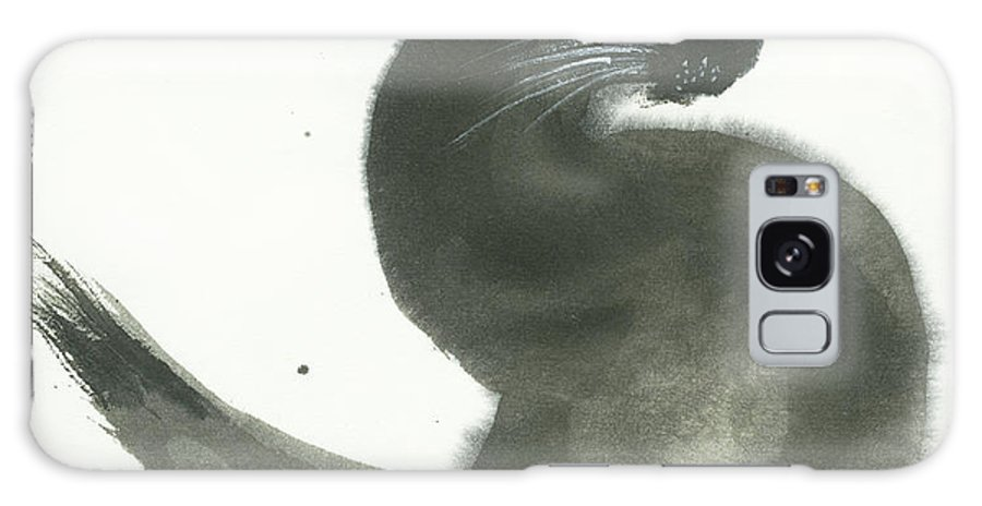 A Black Cat With Green Eyes Is Looking Intensely Ahead. It's A Simple Contemporary Chinese Brush Painting On Rice Paper. Galaxy Case featuring the painting Keen by Mui-Joo Wee