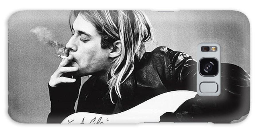 Kurt Cobain Galaxy Case featuring the photograph KURT COBAIN - SMOKING POSTER - 24x36 MUSIC GUITAR NIRVANA by Trindira A