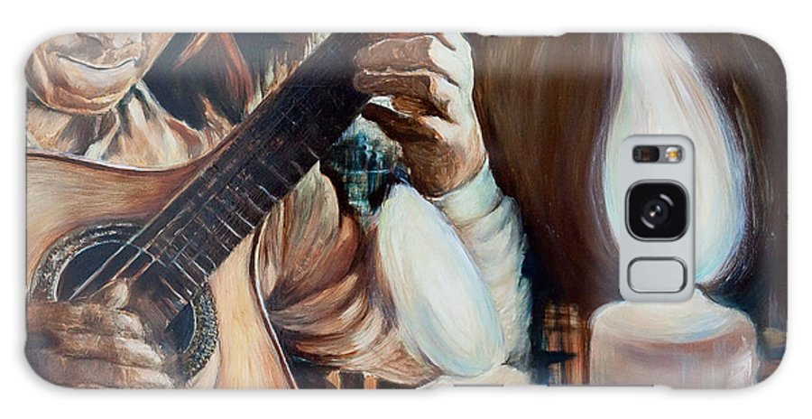 Guitar Galaxy S8 Case featuring the painting La Guitarra- Portuguese Guitar by Jennifer Lycke
