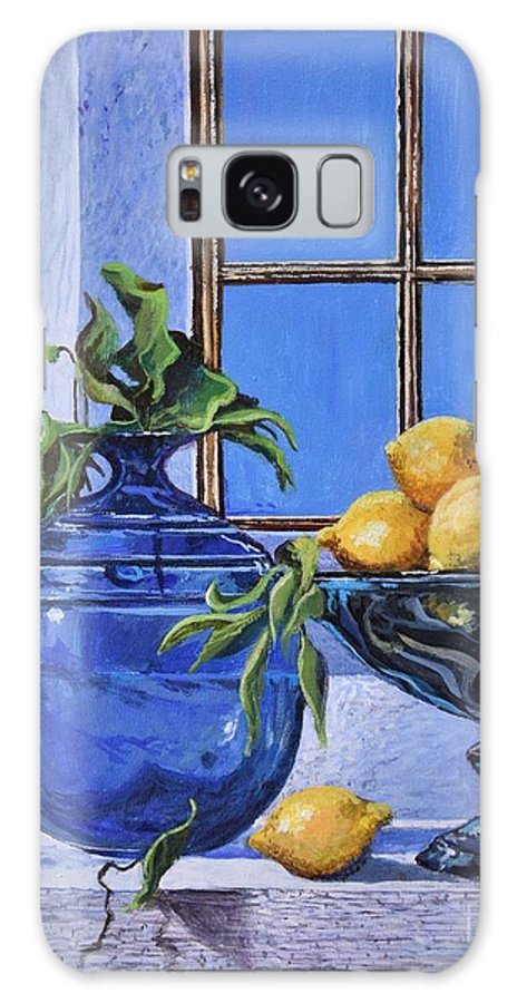 Original Painting Galaxy S8 Case featuring the painting Lemons by Sinisa Saratlic