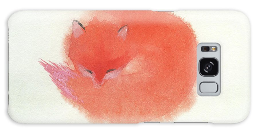 A Red Fluffy Little Fox Curls Up To Sleep In The Snow. It's A Simple Chinese Contemporary Brush Painting On Rice Paper. Galaxy Case featuring the painting Little Fox by Mui-Joo Wee