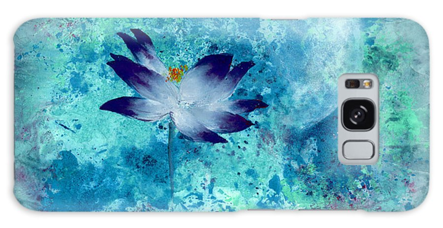 Under The Silver Moon Galaxy Case featuring the painting Lotus Moon by Mui-Joo Wee