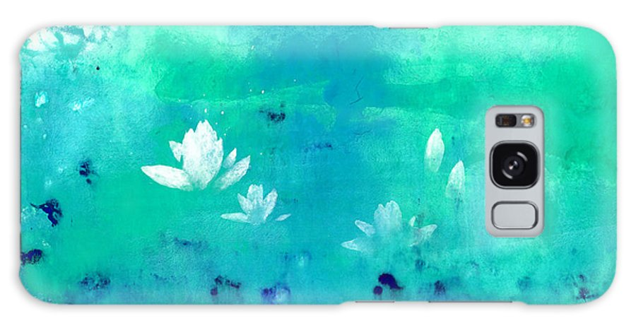 A Traveler Floating A Raft On A Lotus Pond. This Is A Contemporary Chinese Ink And Watercolor On Rice Paper Painting. Galaxy Case featuring the painting Lotus Pond by Mui-Joo Wee