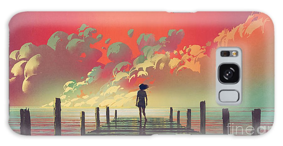 Illustration Galaxy Case featuring the painting My Dream Place by Tithi Luadthong