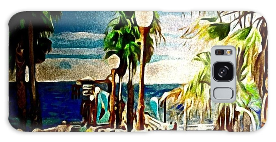 Landscape Galaxy Case featuring the painting Oceanside Peir by Andrew Johnson
