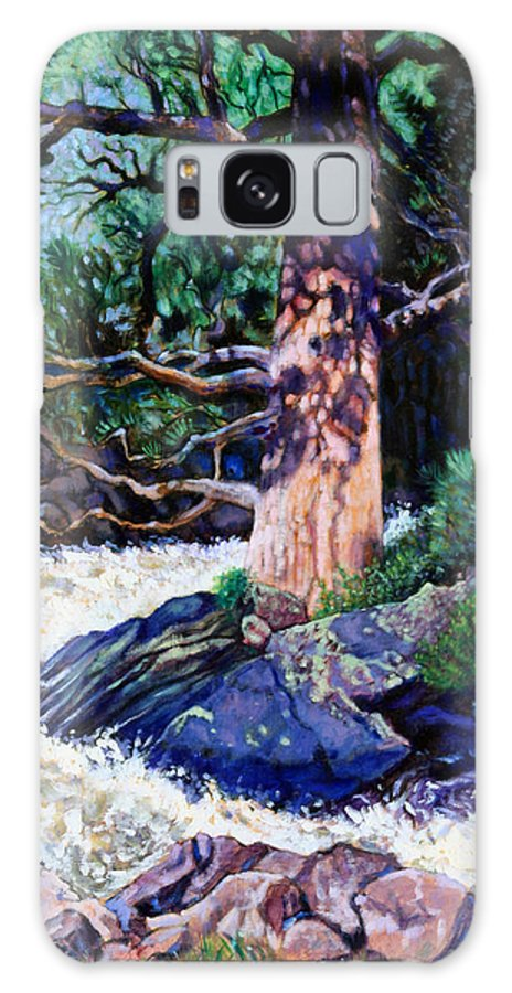 Old Pine Galaxy S8 Case featuring the painting Old Pine In Rushing Stream by John Lautermilch