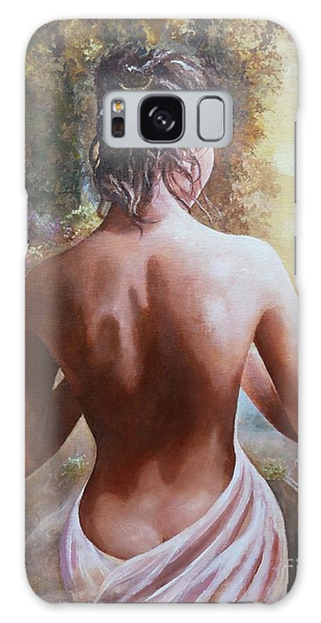 Female Figure Galaxy S8 Case featuring the painting On The Doorway by Sinisa Saratlic