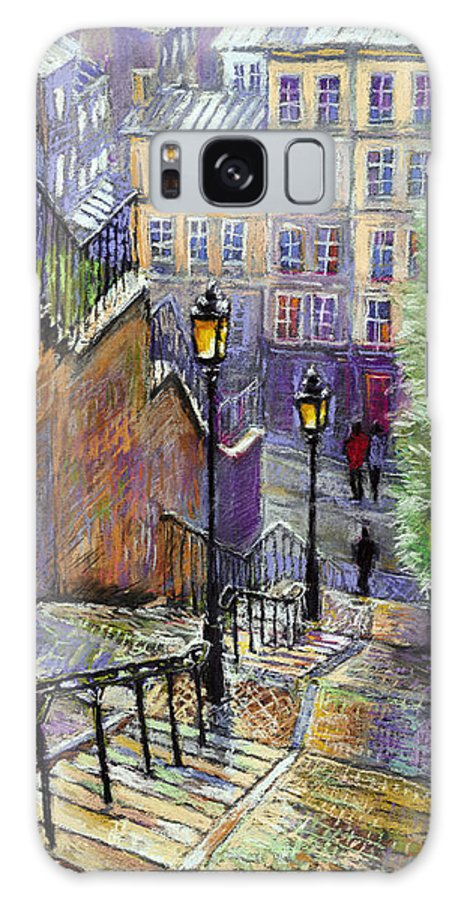Cityscape Galaxy S8 Case featuring the painting Paris Montmartre Steps by Yuriy Shevchuk