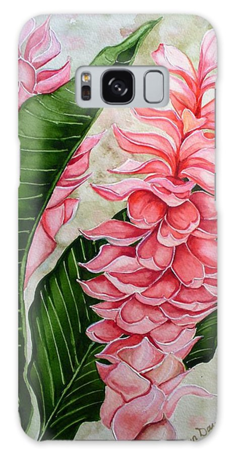 Flower Painting Floral Painting Botanical Painting Ginger Lily Painting Original Watercolor Painting Caribbean Painting Tropical Painting Galaxy S8 Case featuring the painting Pink Ginger Lilies by Karin Dawn Kelshall- Best