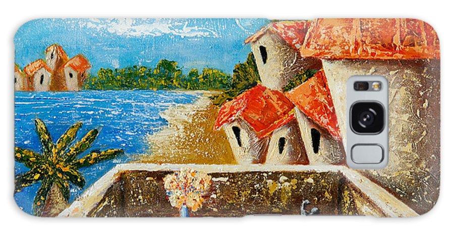 Landscape Galaxy Case featuring the painting Playa Gorda by Oscar Ortiz