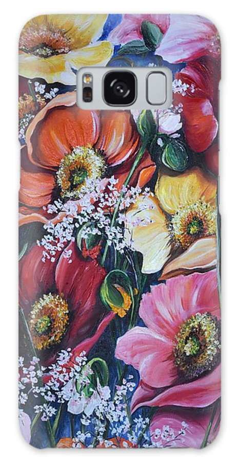Poppies Galaxy Case featuring the painting Poppies Delight by Karin Dawn Kelshall- Best