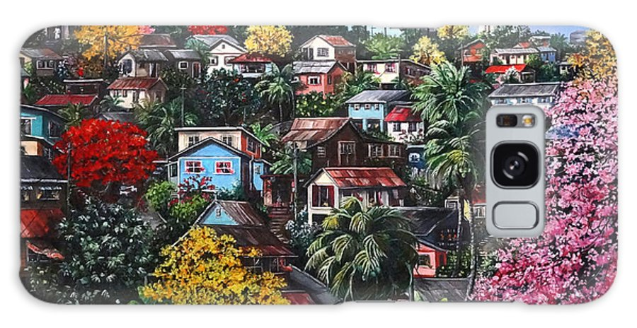 Landscape Painting Cityscape Painting Caribbean Painting Houses Hill Life Color Trees Poui Blossoms Trinidad And Tobago Floral Tropical Caribbean Galaxy Case featuring the painting Poui Calling For The Rains by Karin Dawn Kelshall- Best