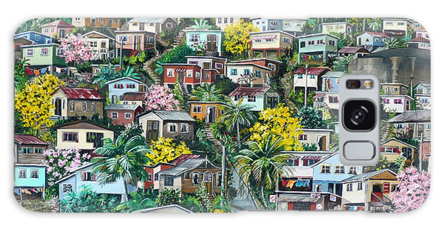 Landscape Painting Cityscape Painting Original Oil Painting  Blossoming Poui Tree Painting Lavantille Hill Trinidad And Tobago Painting Caribbean Painting Tropical Painting Galaxy S8 Case featuring the painting Poui On The Hill by Karin Dawn Kelshall- Best