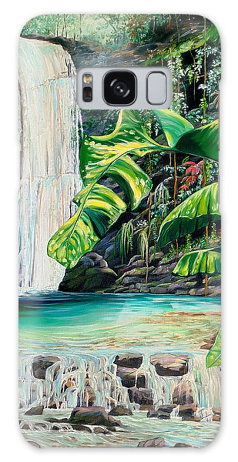 Water Fall Painting Landscape Painting Rain Forest Painting River Painting Caribbean Painting Original Oil Painting Paria Northern Mountains Of Trinidad Painting Tropical Painting Galaxy S8 Case featuring the painting Rainforest Falls Trinidad.. by Karin Dawn Kelshall- Best