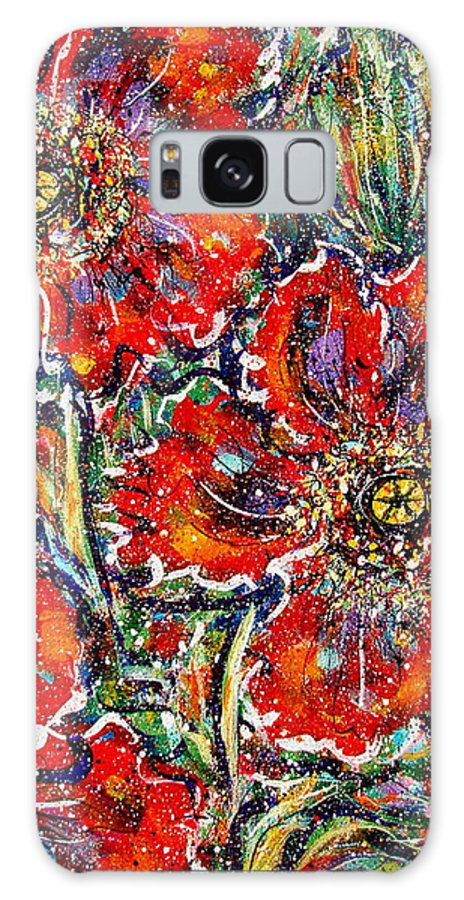 Flowers Galaxy S8 Case featuring the painting Red Fantasy Poppies by Natalie Holland