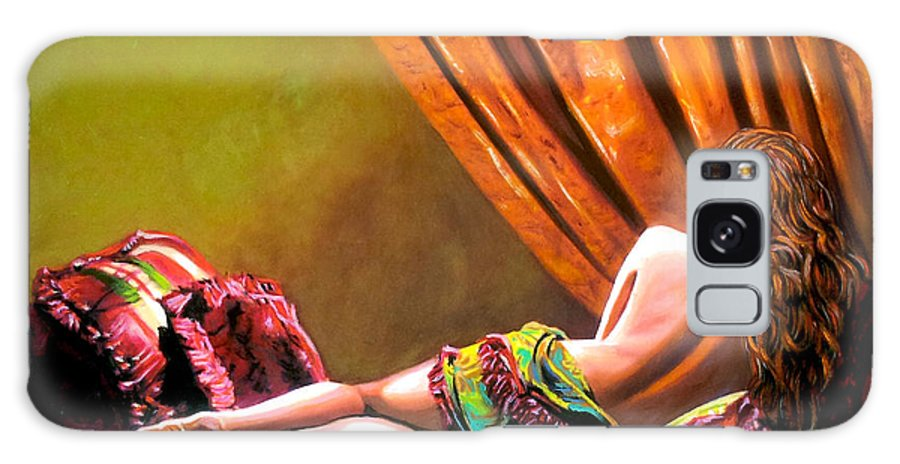 Cubanwomen Galaxy Case featuring the painting Red Hair by Jose Manuel Abraham