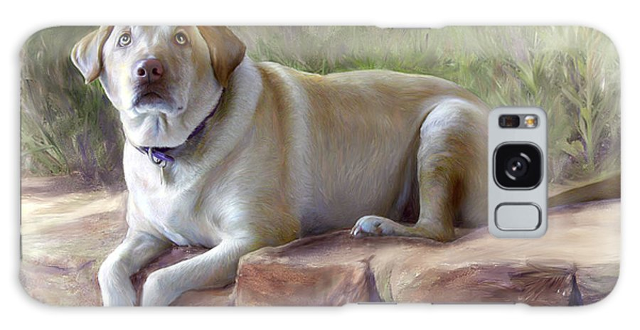 Dog Galaxy S8 Case featuring the painting Restrained Energy- Yellow Labrador Retriever Portrait by Connie Moses