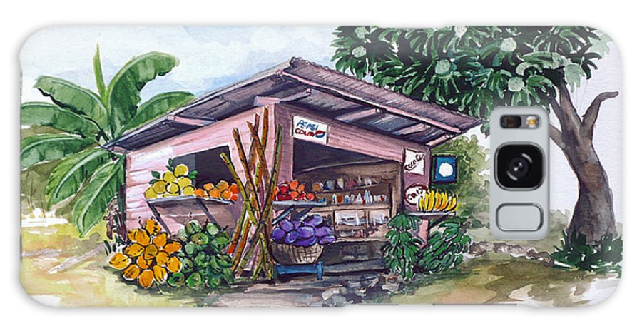 Caribbean Painting Little Shop Fruit & Veg Shop Painting Caribbean Tropical Painting Greeting Card Painting Galaxy S8 Case featuring the painting Roadside Vendor by Karin Dawn Kelshall- Best