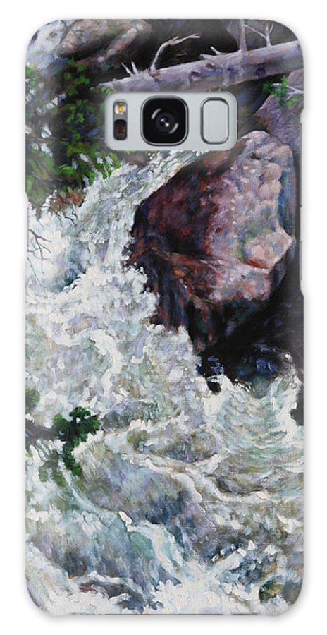 Waterfall Galaxy S8 Case featuring the painting Rushing Stream Colorado by John Lautermilch