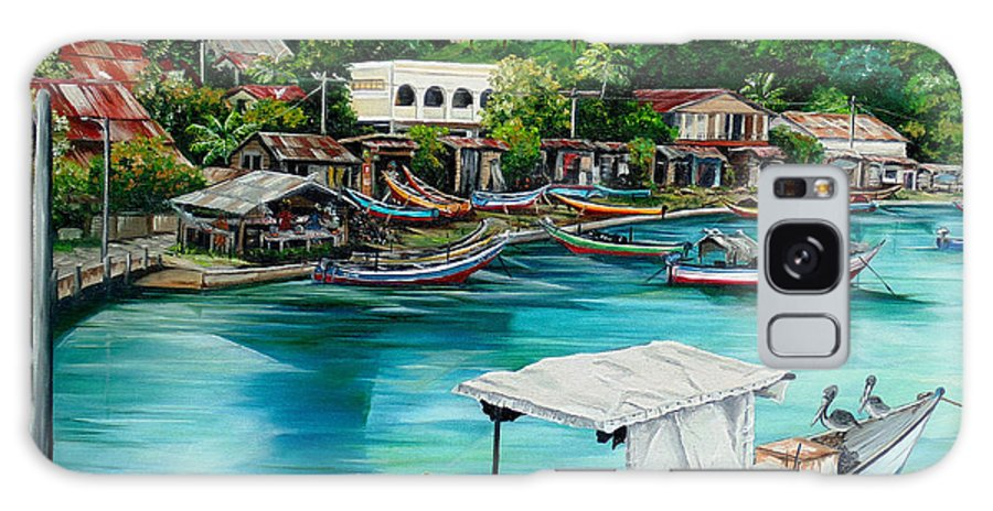 Ocean Painting Sea Scape Painting Fishing Boat Painting Fishing Village Painting Sanfernando Trinidad Painting Boats Painting Caribbean Painting Original Oil Painting Of The Main Southern Town In Trinidad  Artist Pob Galaxy S8 Case featuring the painting Sanfernando Wharf by Karin Dawn Kelshall- Best