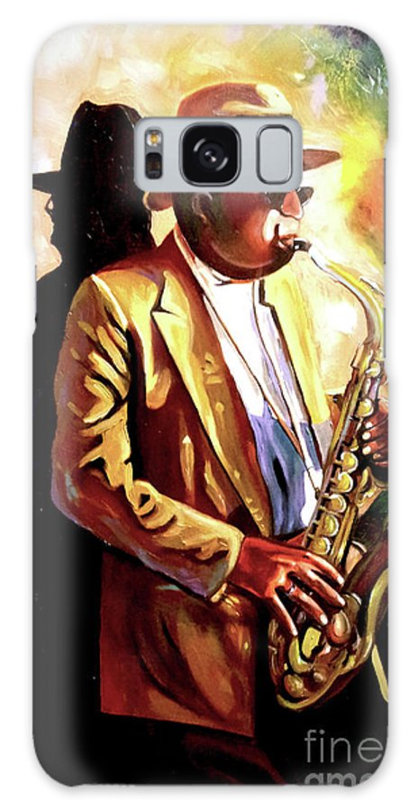 Sax Galaxy S8 Case featuring the painting Sax Player by Jose Manuel Abraham