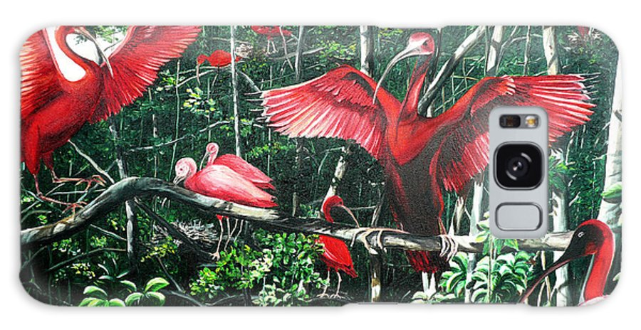 Caribbean Painting Scarlet Ibis Painting Bird Painting Coming Home To Roost Painting The Caroni Swamp In Trinidad And Tobago Greeting Card Painting Painting Tropical Painting Galaxy S8 Case featuring the painting Scarlet Ibis by Karin Dawn Kelshall- Best