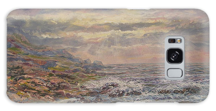 Landscape Galaxy Case featuring the painting Seascape With Clouds. by Leonard Holland