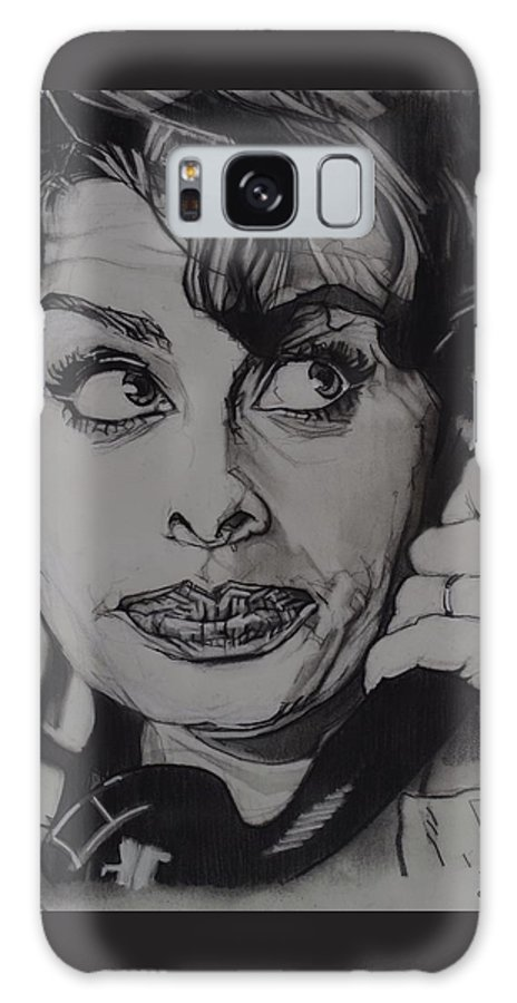 Charcoal On Paper Galaxy S8 Case featuring the drawing Sophia Loren Telephones by Sean Connolly