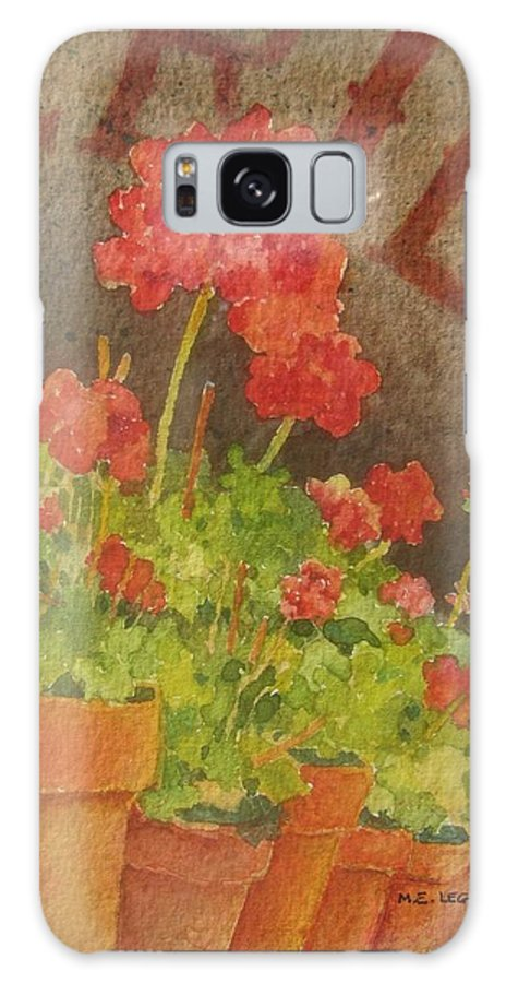 Geraniums Galaxy S8 Case featuring the painting Summers End by Mary Ellen Mueller Legault