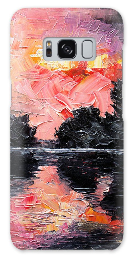 Lake After Storm Galaxy S8 Case featuring the painting Sunset. After storm. by Sergey Bezhinets